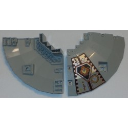 LEGO 30116px1 Panel 14 x 14 x 2 & 23 Quarter Saucer Top with Black Lines and Rust Patch Pattern