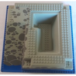 LEGO 2552px3 Baseplate 32 x 32 Raised with Ramp and Pit with DkGray Rocks and Blue Base Pattern