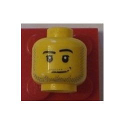 LEGO 3626bpx301 Minifig Head with Lefty Mouth, Stubble, Moustache, Beard, and Sideburns Pattern