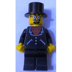 LEGO adv038 Lord Sam Sinister - Suit with 3 Buttons Black - Black Legs, Top Hat